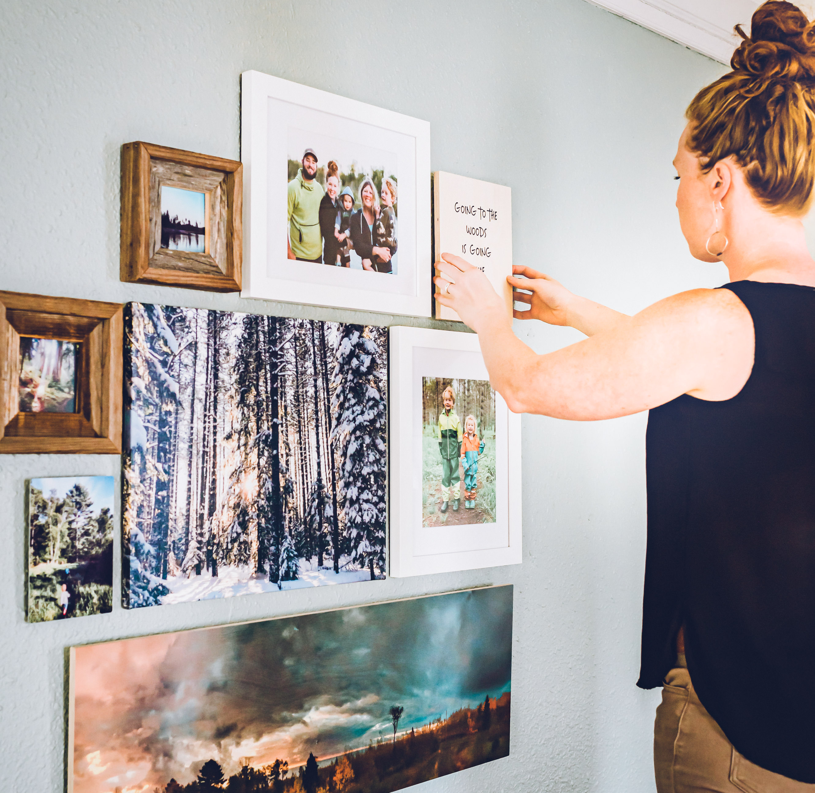 hanging prints on gallery wall