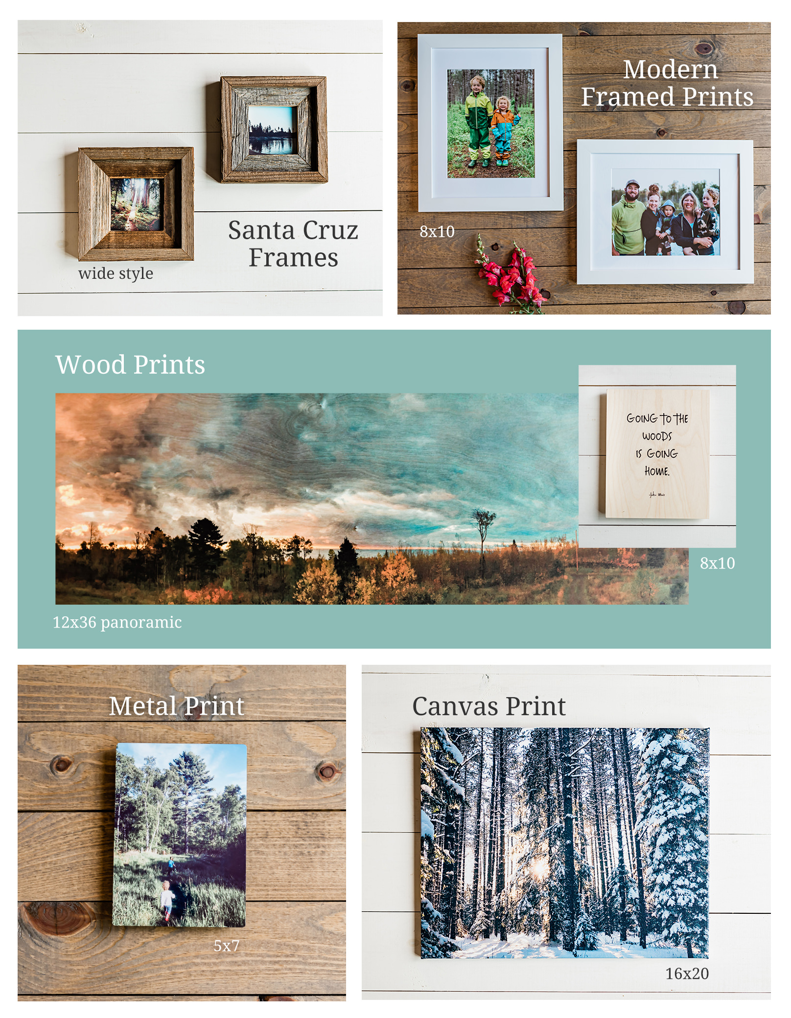 Product Assortment. Framed Prints, Santa Cruz Frames, Metal Prins, Canvas Prints, Wood Prints