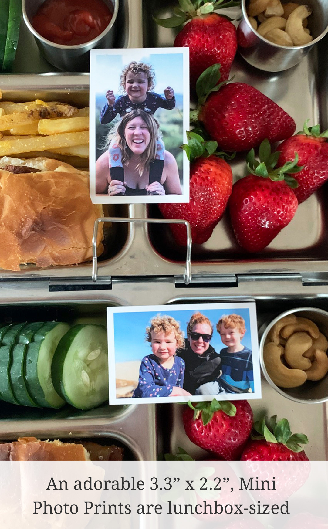"An adorable 3.3"" x 2.2"", Mini Photo Prints are lunchbox-sized"