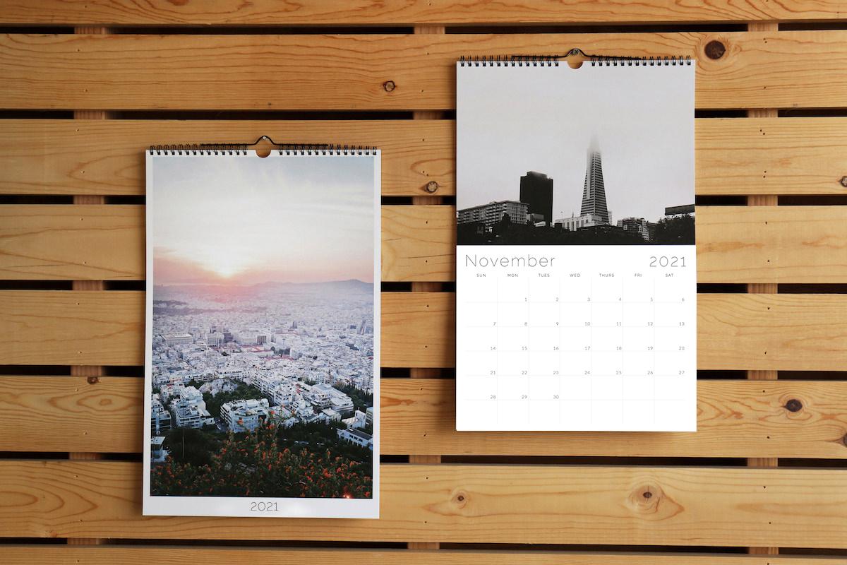 Modern Wall Calendar Print A Monthly Calendar From Your Photos Social Print Studio